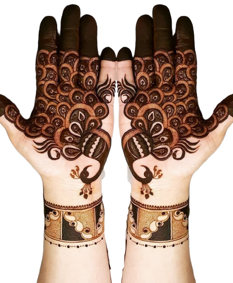 Bridal Mehndi design (peacock pattern)