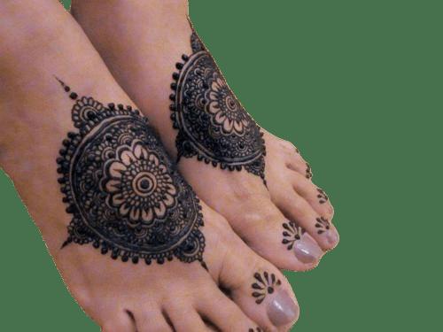 Flower Pattern Henna Tattoo For Feet