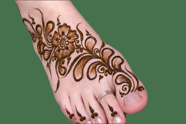 flower mehndi design for feet
