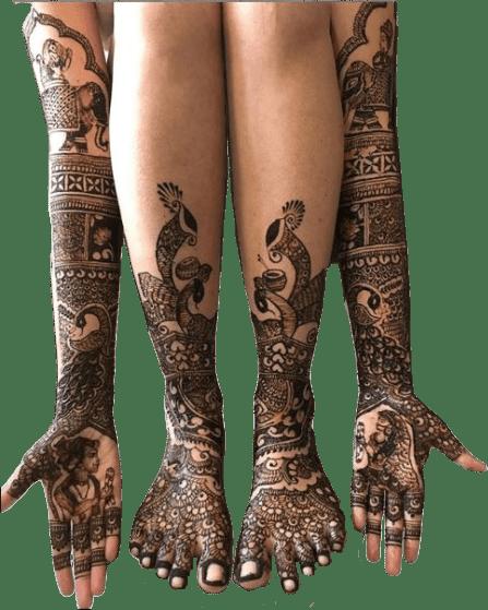 dulhan henna design full hands and legs