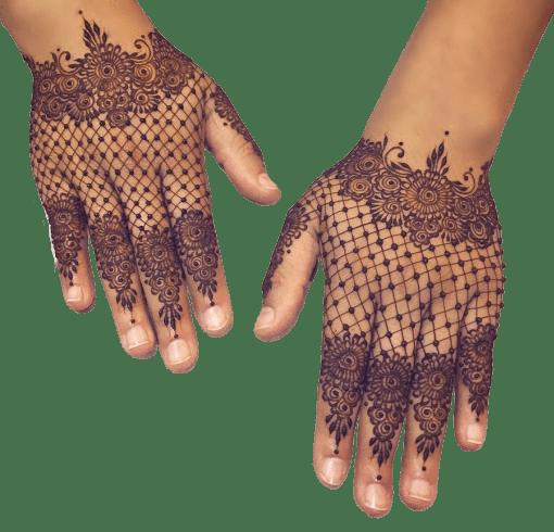 Lacy Gloves Mehndi Designs Backhand