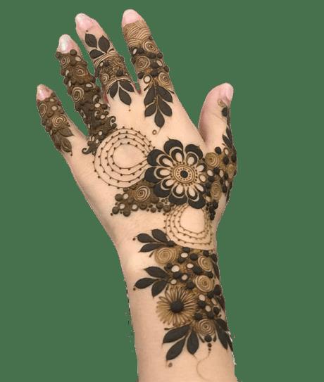 simple henna design for back hand