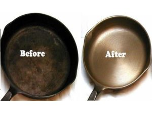 pan cleaning with the use of baking soda before and after