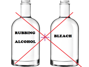 do not mix rubbing alcohol and bleach