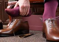 brown leather shoes with maroon socks