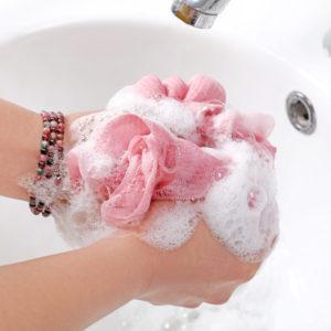 pink bath sponge