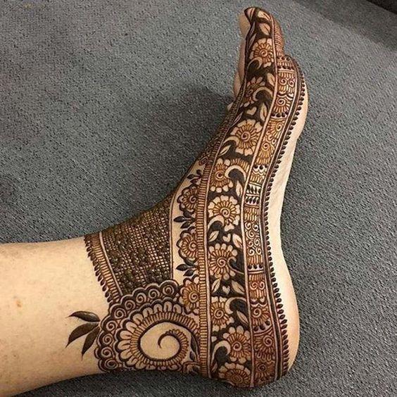 full coverage feet mehndi design