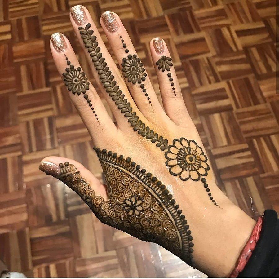 minimalist floral mehndi design on backhand