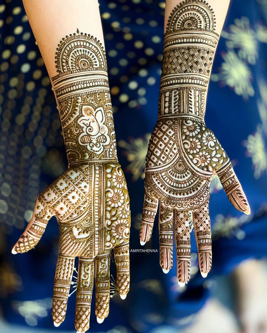 traditional yet modern full hand mehndi design