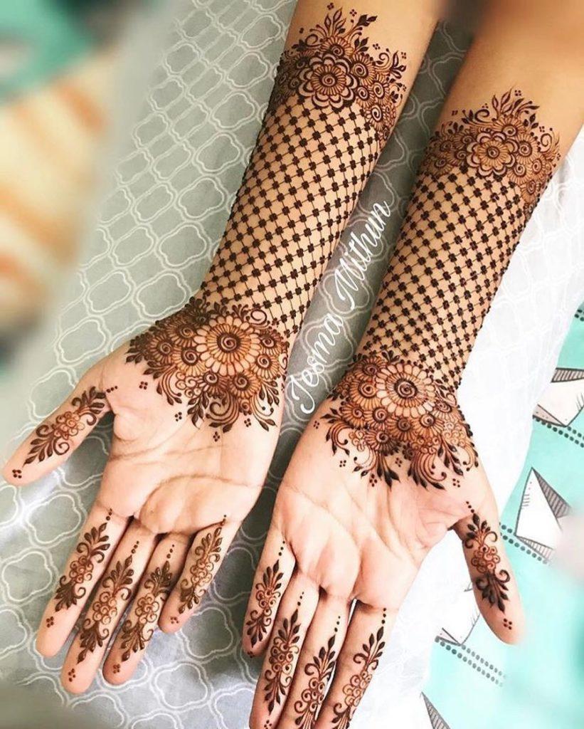 gorgeous net pattern arabic mehndi design